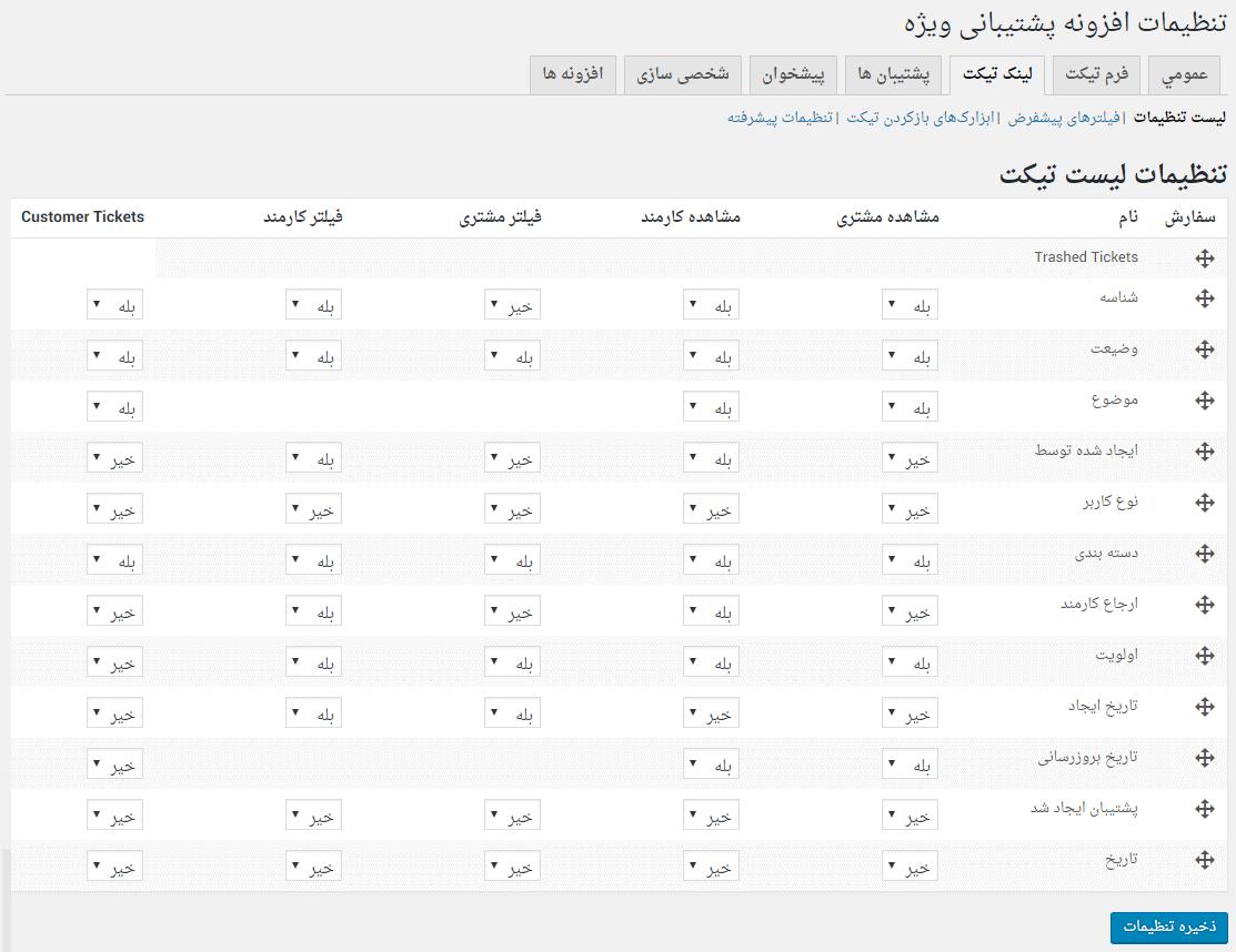 تنظیمات نمایش امکانات تیکت در قسمت تیکت های من