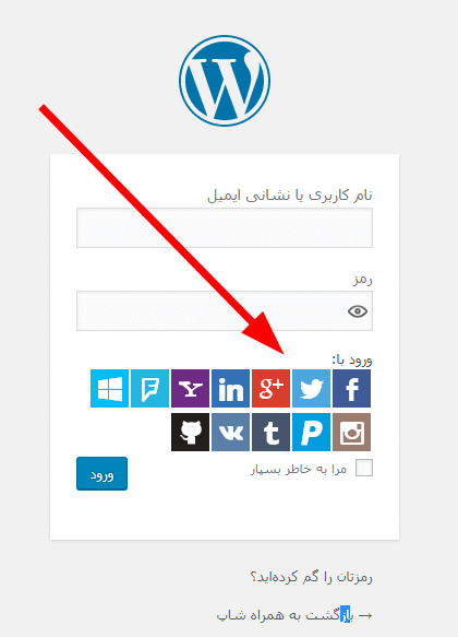 تصویر افزونه ورود با سیستم های اجتماعی در صفحه ورود به وردپرس
