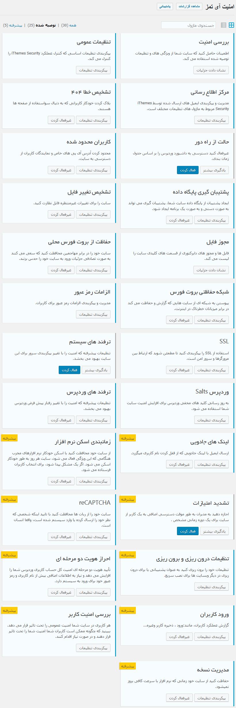 تصویر امکانات کلی افزونهiThemes Security Pro
