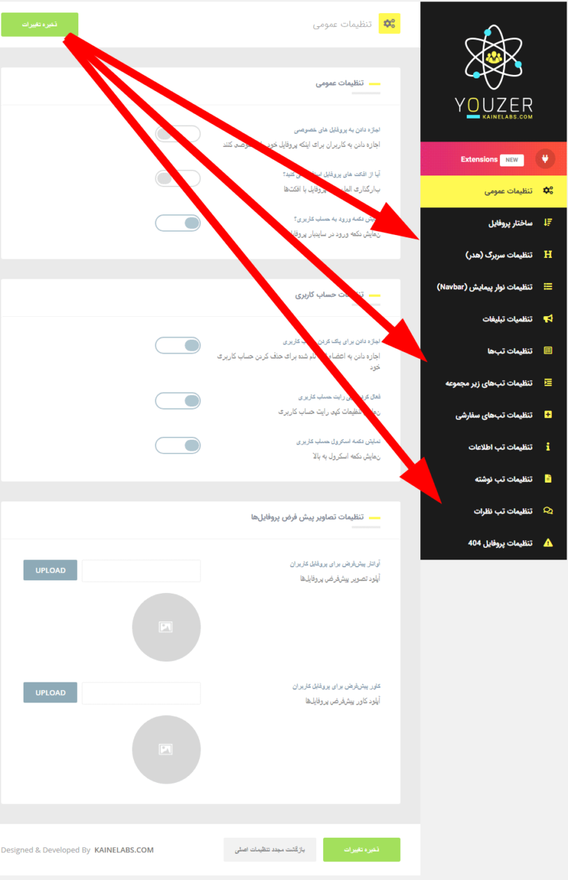 نمایی از تنظیمات پروفایل بسیار گسترده افزونهYouzer