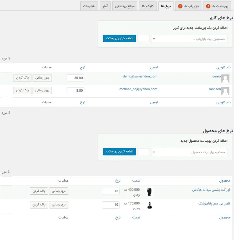 مدیریت نرخ های پروسانت برای هر محصول و کاربر