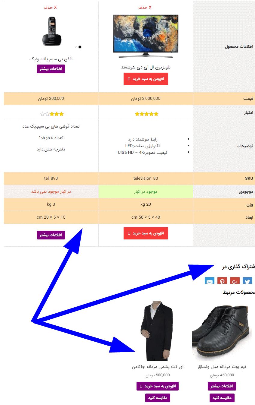 مقایسه محصولات در یک برگه با افزونه Yith Compare