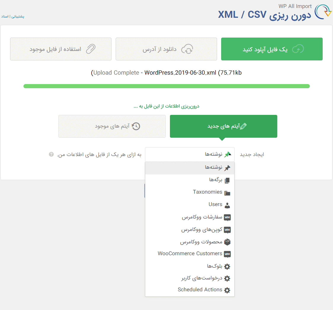 آپلود فایل درون ریز با افزونه WP All Import