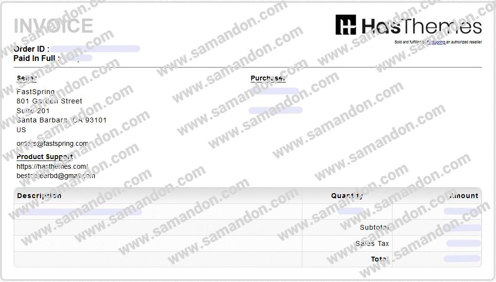 فاکتور خرید اورجینال افزونه WooLentor Pro از سایت اصلی