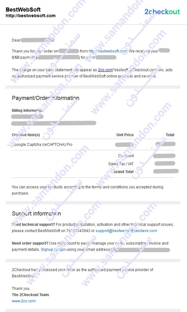 فاکتور خرید اورجینال افزونه ضد اسپم ریکپچای گوگل | Google Captcha (reCaptcha)