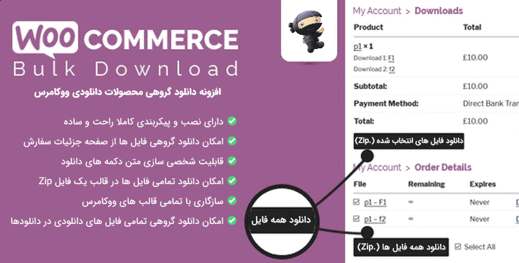 افزونه WooCommerce Bulk Download