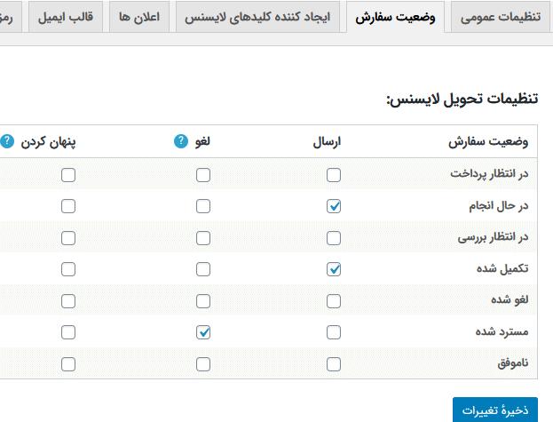 مدیریت تحویل لایسنس ها در وضعیت های مختلف سفارش