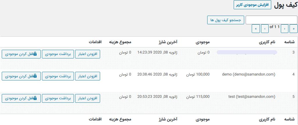 مشاهده کیف پول کاربران در مدیریت سایت