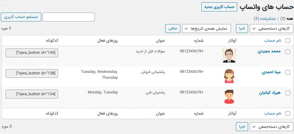 مدیریت حساب های پشتیبان در افزونه WhatsApp Chat For WordPress