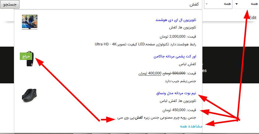 نمونه جستجوی ایجکسی در سایت