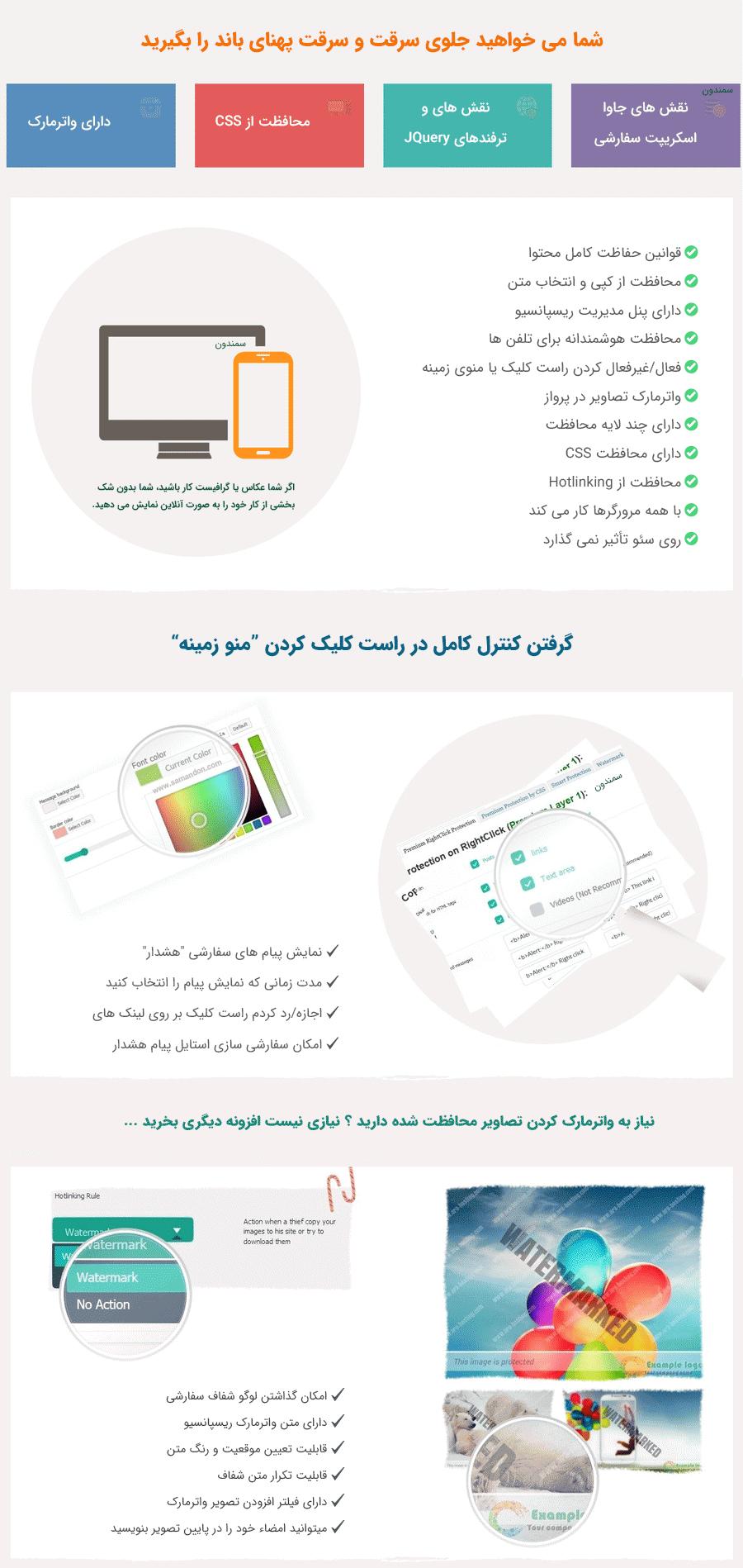 ویژگی های افزونه WP Content Copy Protection Pro