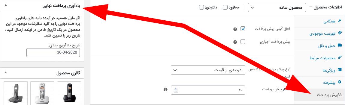 تنظیم نوع پیش پرداخت و تنظیم زمان ارسال ایمیل در ویرایش محصول