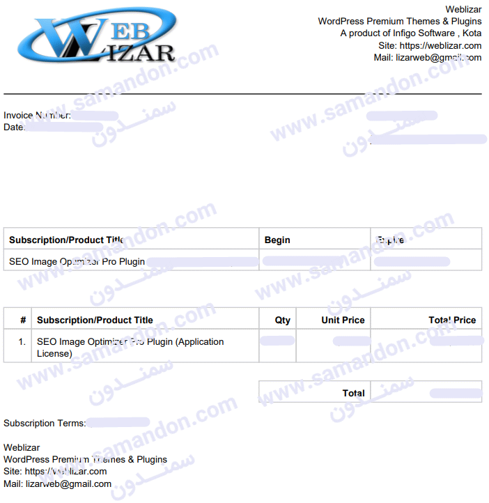 فاکتور خرید اورجینال افزونه SEO Image Optimizer Pro