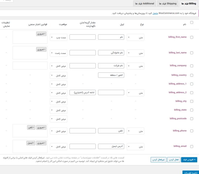 تنظیمات فیلدهای صورتحساب با افزونه WooCommerce Checkout Field Editor