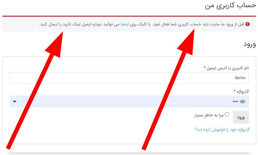 نمونه جلوگیری از ورود به حساب برای کاربر تایید نشده