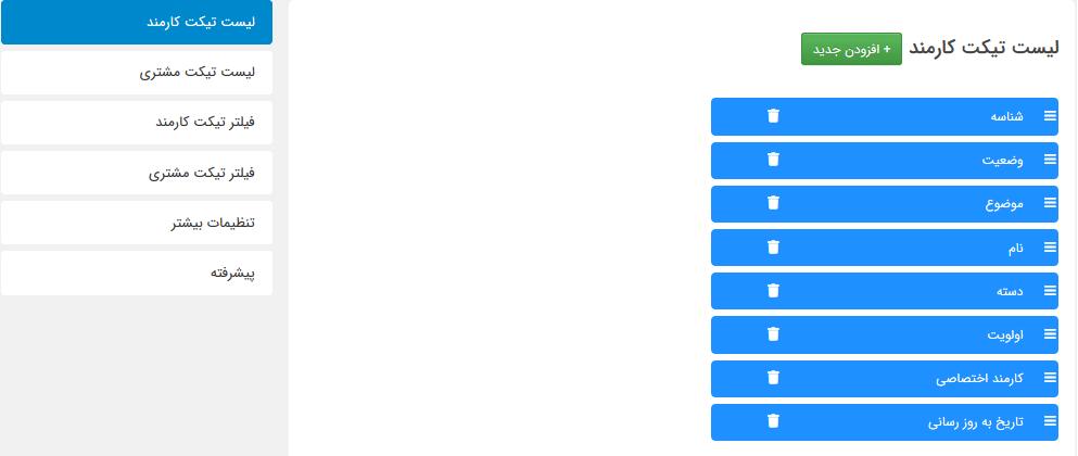 مدیریت لیست تیکت ها برای نقش های مختلف