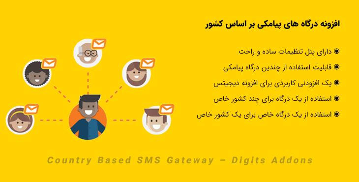 افزونه درگاه های پیامکی بر اساس کشور | Country Based SMS Gateway – Digits Addons