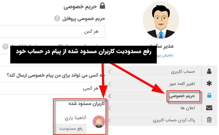 دارای ویژگی مسدود/رفع مسدودید کاربر مقابل در افزونه Ultimate Member - Private Messages