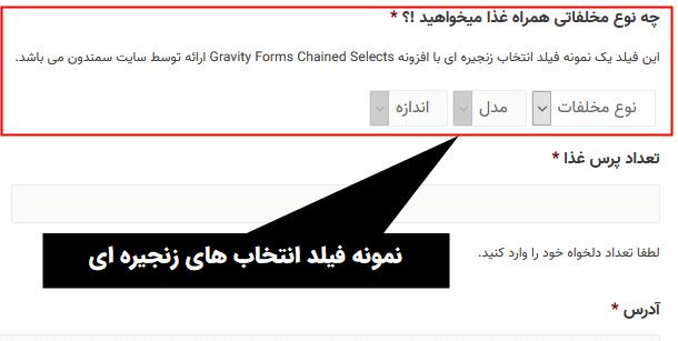 نمونه فیلد انتخاب های زنجیره ای کشویی گرویتی فرمز با افزونه Gravity Forms Chained Selects Add-On