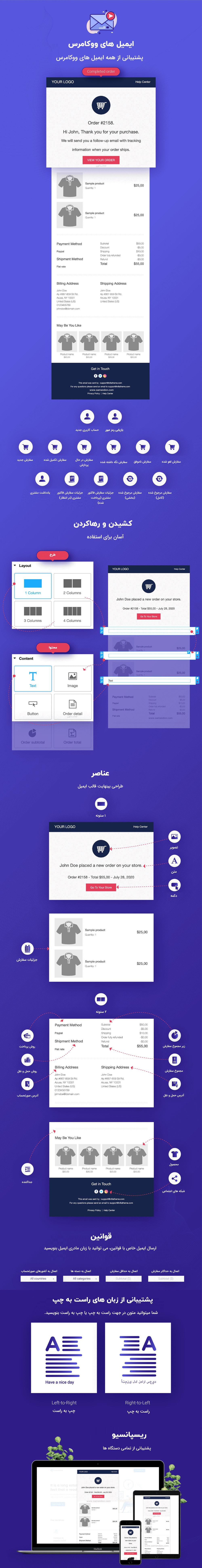 ویژگی های افزونه شخصی سازی ایمیل های ووکامرس | WooCommerce Email Template Customizer