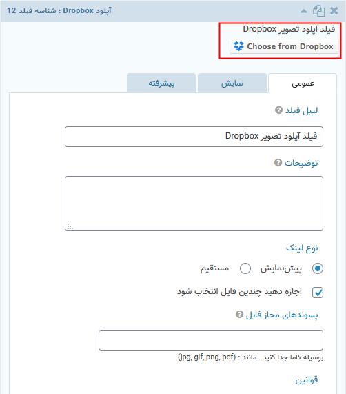 فیلد آپلود فایل افزونه اتصال دراپ باکس به گرویتی فرمز | Gravity Forms Dropbox Add-On