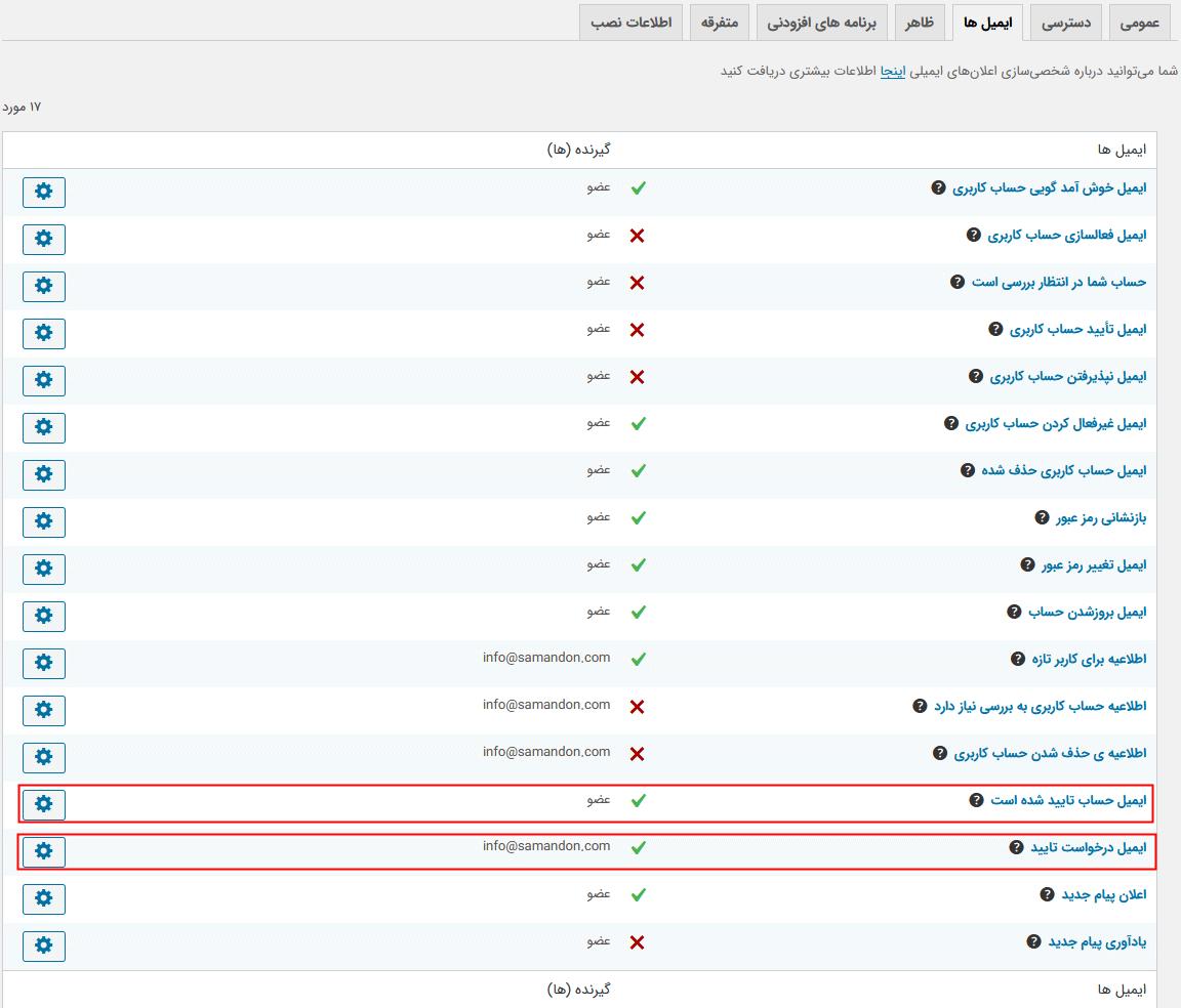 تنظیمات اعلان ایمیل افزونه Ultimate Member - Verified Users