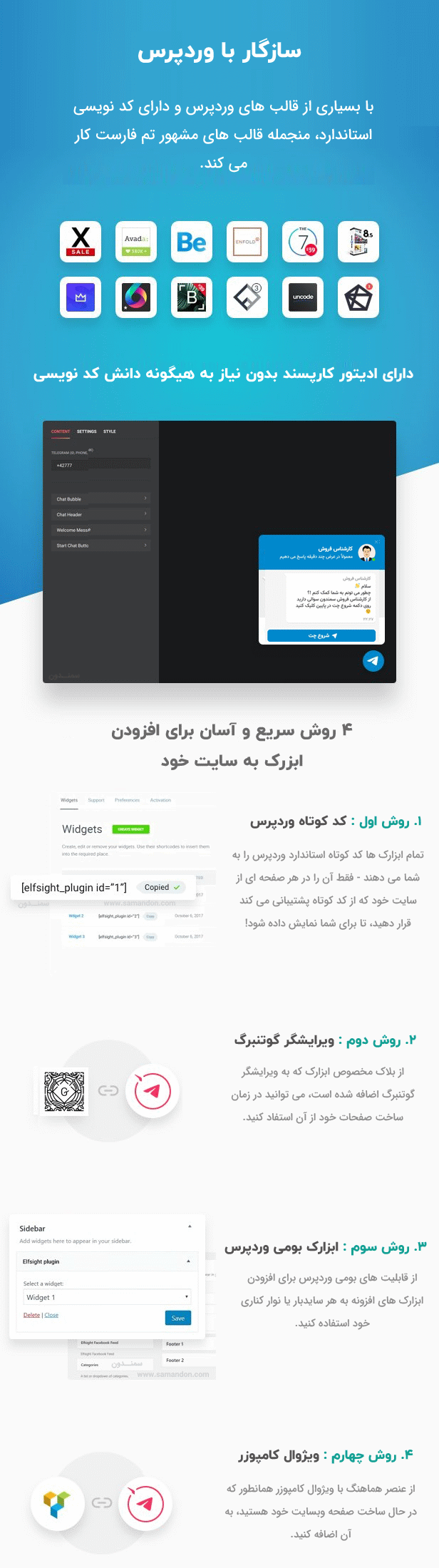 ویژگی های افزونه دکمه چت تلگرام برای وردپرس | Telegram Chat for WordPress