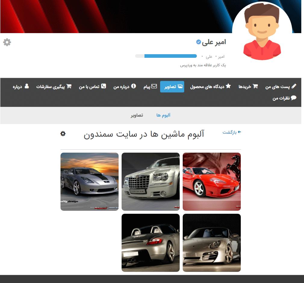 نمایش آلبوم تصاویر در پروفایل توسط Ultimate Member - User Photos