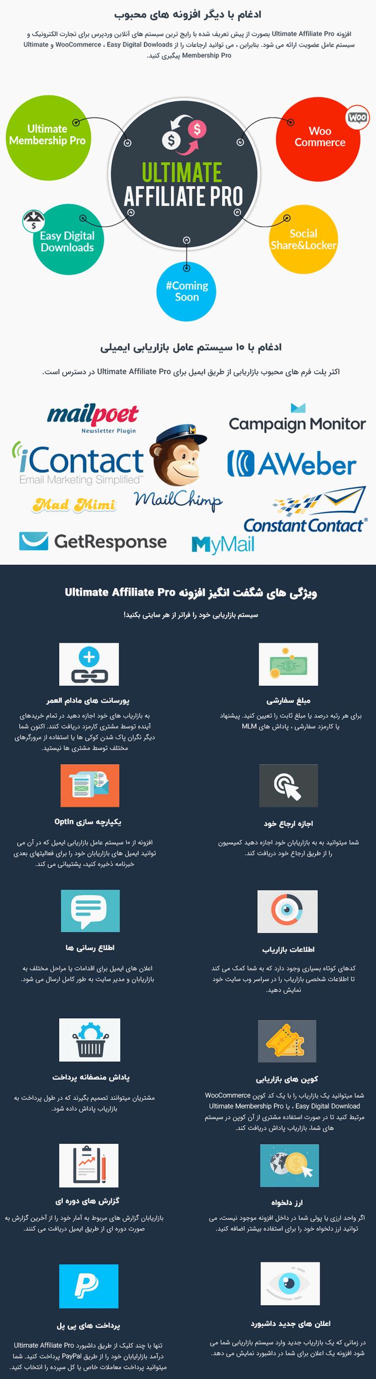 ویژگی های افزونه بازاریابی و همکاری در فروش وردپرس | Ultimate Affiliate Pro